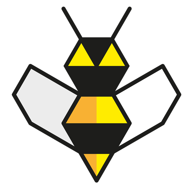 An illustration of a bee, also the logo for Beesness